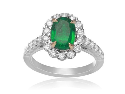 GIA CERTIFIED 2.34CT DIAMOND & AAA EMERALD 18KT 2 TONE GOLD HALO ENGAGEMENT RING