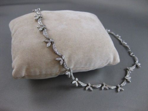 "ANTIQUE 1.50CTW DIAMOND 18KT WHITE GOLD FLORAL DROP NECKLACE 17"" F/G VVS #4965"