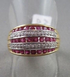 ANTIQUE WIDE MULTI ROW ROUND 1.3CTW RUBY & DIAMOND 14KT WHITE AND YELLOW RING