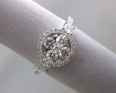 ESTATE .82CT ROUND DIAMOND 18KT WHITE GOLD 3D 4 STONE FLOWER HALO PROMISE RING