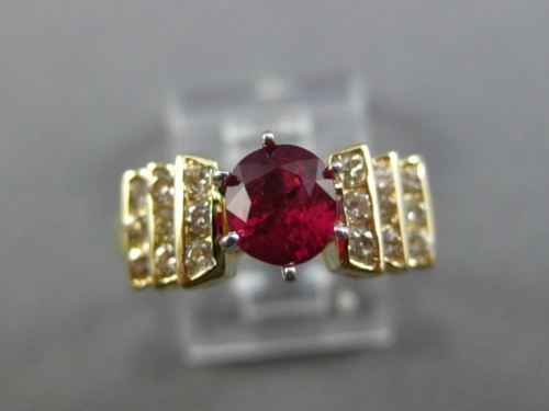 ESTATE 1.15CT DIAMOND & AAA RUBY 14K YELLOW GOLD 6 PRONG PYRAMID ENGAGEMENT RING