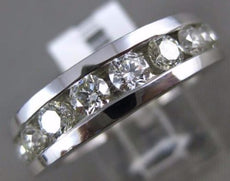 ESTATE WIDE 1.71CT ROUND DIAMOND 14KT WHITE GOLD 3D 9 STONE CHANNEL MENS RING