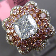 GIA LARGE 3.92CT MULTI COLOR DIAMOND 18KT 2 TONE GOLD 3D FLOWER ENGAGEMENT RING