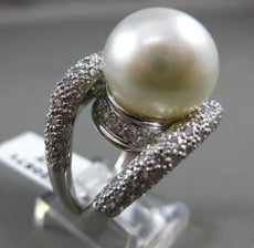 ESTATE MASSIVE 3CT DIAMOND & AAA SOUTH SEA PEARL 18KT WHITE GOLD PAVE RING 20571