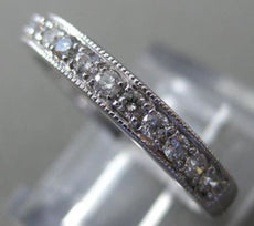 ESTATE .25CT DIAMOND 18KT WHITE GOLD 3D FILIGREE SEMI ETERNITY ANNIVERSARY RING