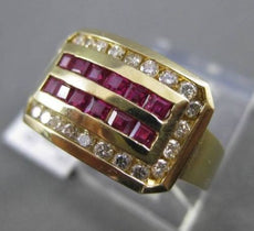 ESTATE 1.40CTW ROUND DIAMOND & AAA RUBY 14KT YELLOW GOLD SQUARE COCKTAIL RING