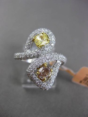 ESTATE LARGE 1.91CTW WHITE & YELLOW DIAMOND 18KT TWO TONE GOLD 3D COCKTAIL RING