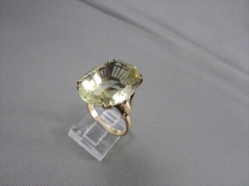 ANTIQUE LARGE 25CT OVAL GREEN AMETHYST 14KT YELLOW GOLD COCKTAIL RING #21928