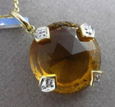 ANTIQUE LARGE 9.40CT DIAMOND & CITRINE 14K 2 TONE GOLD FILIGREE FLOATING PENDANT