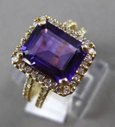 ESTATE 4.95CTW DIAMOND & AAA AMETHYST 14KT YELLOW GOLD 3D HALO ENGAGEMENT RING