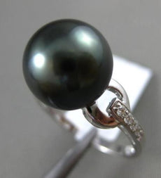 ESTATE LARGE .09CT DIAMOND 14KT WHITE GOLD 3D TAHITIAN PEARL PAVE SOLITAIRE RING