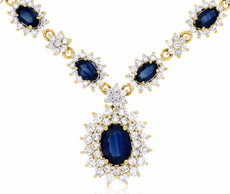 ESTATE 5.90CT DIAMOND & AAA SAPPHIRE 14K YELLOW GOLD FLOWER BY THE YARD NECKLACE