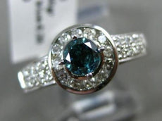 ESTATE 1.59CT WHITE & BLUE DIAMOND 14KT WHITE GOLD 3D SOLITAIRE ENGAGEMENT RING
