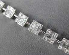 ESTATE WIDE 3.9CT ROUND & BAGUETTE DIAMOND 18K WHITE GOLD SQUARE TENNIS BRACELET