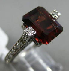 ESTATE WIDE 3.45CT ROUND DIAMOND & AAA GARNET 14KT WHITE GOLD 3D ENGAGEMENT RING