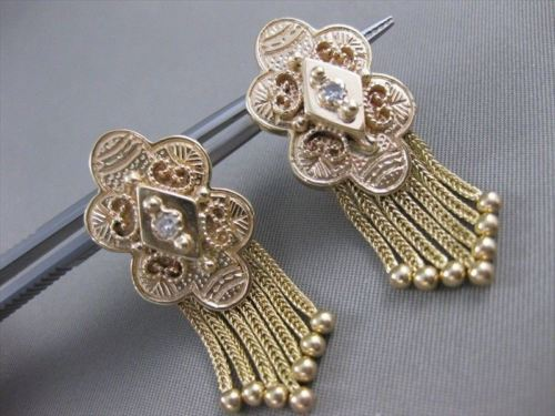 ANTIQUE DIAMOND FILIGREE HANGING TASSEL 14KT YELLOW GOLD EARRINGS 37MM #21291