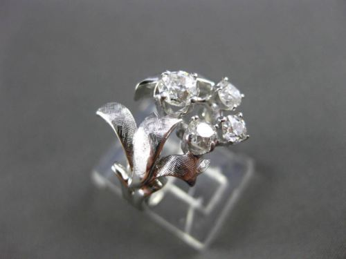 ANTIQUE LARGE 1.26CT OLD MINE ROUND DIAMOND 14KT WHITE GOLD FLOWER RING #21971
