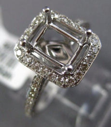 ESTATE WIDE .68CT DIAMOND 14K WHITE GOLD CLASSIC HALO SEMI MOUNT ENGAGEMENT RING