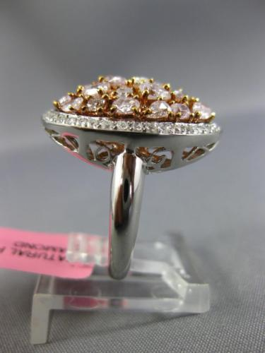 LARGE 2.43CT WHITE & PINK DIAMOND 18K WHITE & ROSE GOLD 3D OVAL ANNIVERSARY RING