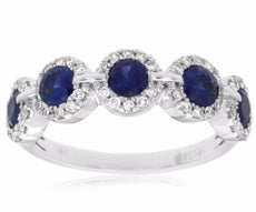 1.27CT DIAMOND & AAA SAPPHIRE 14K WHITE GOLD 3D FIVE STONE HALO ANNIVERSARY RING