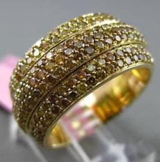 ESTATE WIDE 3.09CT FANCY YELLOW DIAMOND 18K YELLOW GOLD 3D ETERNITY WEDDING RING