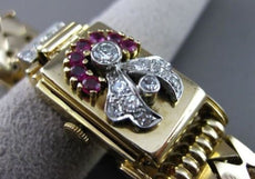 ANTIQUE 1.43CT DIAMOND & AAA RUBY 14KT 2TONE GOLD PHILLIPE WATCH BRACELET #2644