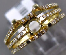 ESTATE WIDE .30CT DIAMOND 14KT YELLOW GOLD 3D 3 ROW SEMI MOUNT ENGAGEMENT RING