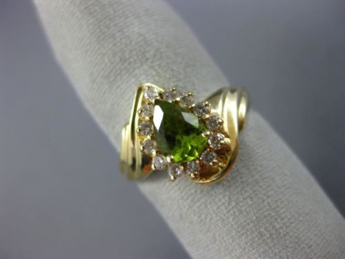 WIDE 1.05CT DIAMOND & AAA PEAR SHAPE PERIDOT 14KT YELLOW GOLD 3D HALO FUN RING