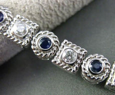 ESTATE WIDE 3.24CT DIAMOND & SAPPHIRE 14KT WHITE GOLD FILIGREE TENNIS BRACELET