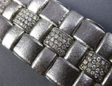ESTATE WIDE & LONG 3.0CT DIAMOND 14KT WHITE GOLD 3D MATTE WOVEN TENNIS BRACELET