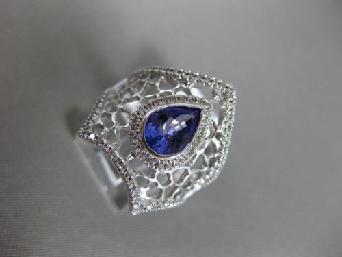 MASSIVE 1.71CT DIAMOND & AAA PEAR SHAPE TANZANITE 14K WHITE GOLD 3D WEB FUN RING