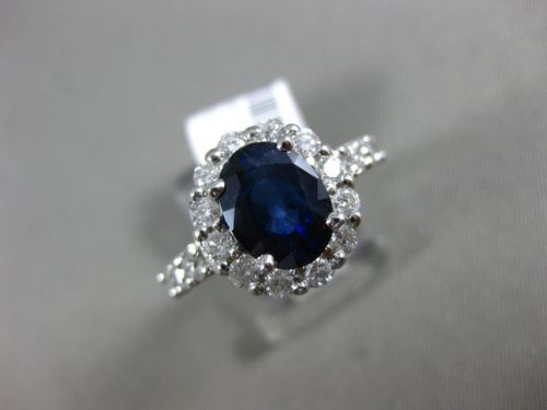 LARGE 3.15CT DIAMOND & AAA OVAL SAPPHIRE 14KT WHITE GOLD 3D HALO ENGAGEMENT RING