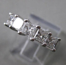 ESTATE 1.33CT PRINCESS DIAMOND 14KT WHITE GOLD 3D WEDDING ANNIVERSARY RING #1944