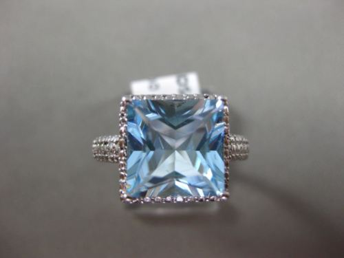ESTATE LARGE 5.27CT AAA BLUE TOPAZ 14KT WHITE GOLD SQUARE HALO FILIGREE FUN RING