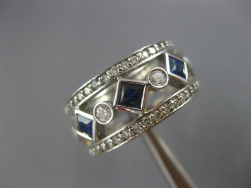 LARGE 3.40CT ROUND DIAMOND & AAA SAPPHIRE 14KT WHITE GOLD ETERNITY WEDDING RING