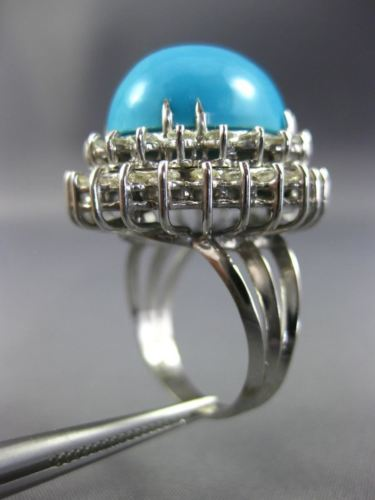 ESTATE EXTRA LARGE 17.10CT DIAMOND & AAA TURQUOISE 14K WHITE GOLD 3D RING #26141