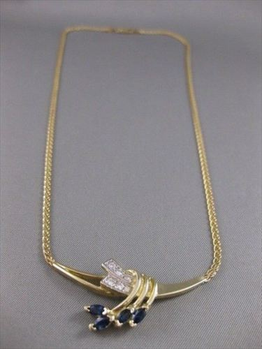 "ANTIQUE 1.20CT DIAMOND SAPPHIRE 14K YELLOW GOLD NECKLACE F/ VVS 17.50"" INCH 2690"