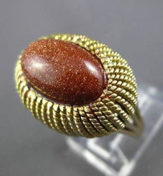 ANTIQUE WIDE & LARGE AAA GOLDSTONE 14KT YELLOW GOLD 3D SOLITAIRE FUN RING #24322