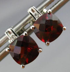 ESTATE 1.67CT DIAMOND & AAA GARNET 14KT WHITE GOLD CLASSIC SQUARE STUD EARRINGS