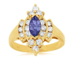 ESTATE 1.25CT DIAMOND & AAA TANZANITE 14KT YELLOW GOLD 3D FLOWER ENGAGEMENT RING