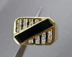 ESTATE .28CT DIAMOND & ONYX 18KT YELLOW GOLD RECTANGULAR MENS RING 11mm #22461