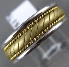 ESTATE 14KT 2 TONE GOLD 3D HANDCRAFTED ROPE MENS WEDDING ANNIVERSARY RING #ELV58