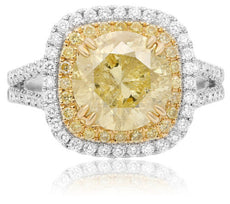ESTATE LARGE 3.87CT WHITE & FANCY YELLOW DIAMOND 18K 2 TONE GOLD ENGAGEMENT RING