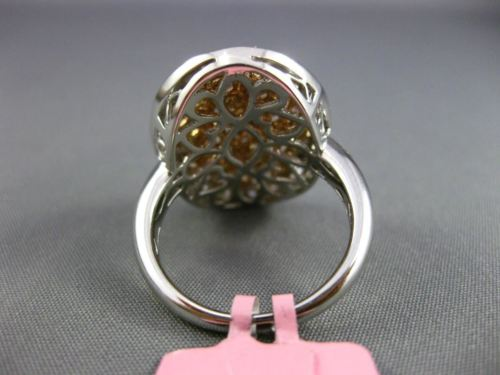 ESTATE LARGE 3CT MULTI COLOR DIAMOND 18K WHITE & ROSE GOLD OVAL MULTI SHAPE RING