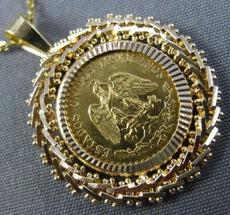 ESTATE 22KT & 14KT YELLOW GOLD HANDCRAFTED 1945 DOS PESOS MEXICAN COIN PENDANT