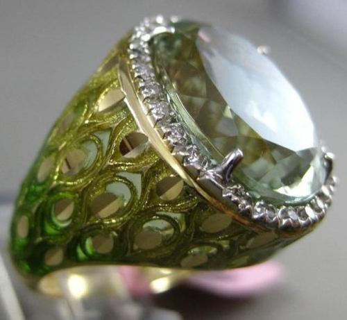 ANTIQUE LARGE 8.30CT DIAMOND AMETHYST & ENAMEL 14KT WHITE & YELLOW GOLD 3D RING
