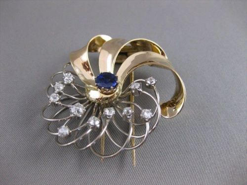 ANTIQUE 2.80CTW OLD EURO MINE CUT DIAMOND SAPPHIRE 14K W&Y GOLD PIN BROOCH #2402