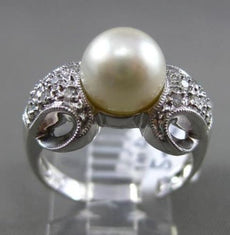 ESTATE .18CT DIAMOND & SOUTH SEA PEARL 14KT WHITE GOLD 3D FILIGREE MILGRAIN RING
