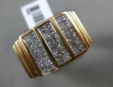 ESTATE MASSIVE 2.18CT DIAMOND 14K YELLOW GOLD 3D MULTI ROW HANDCRAFTED MENS RING