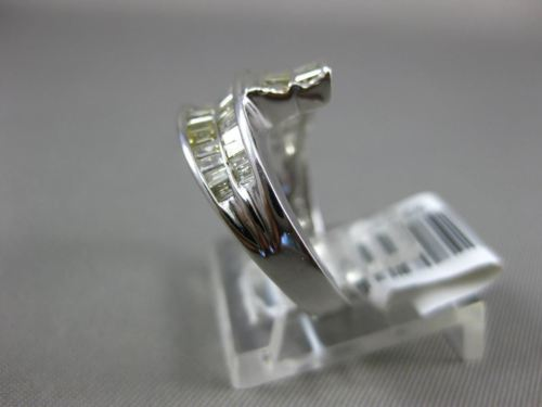 WIDE .71CT MULTI COLOR DIAMOND 14KT WHITE GOLD 3D CRISS CROSS ANNIVERSARY RING